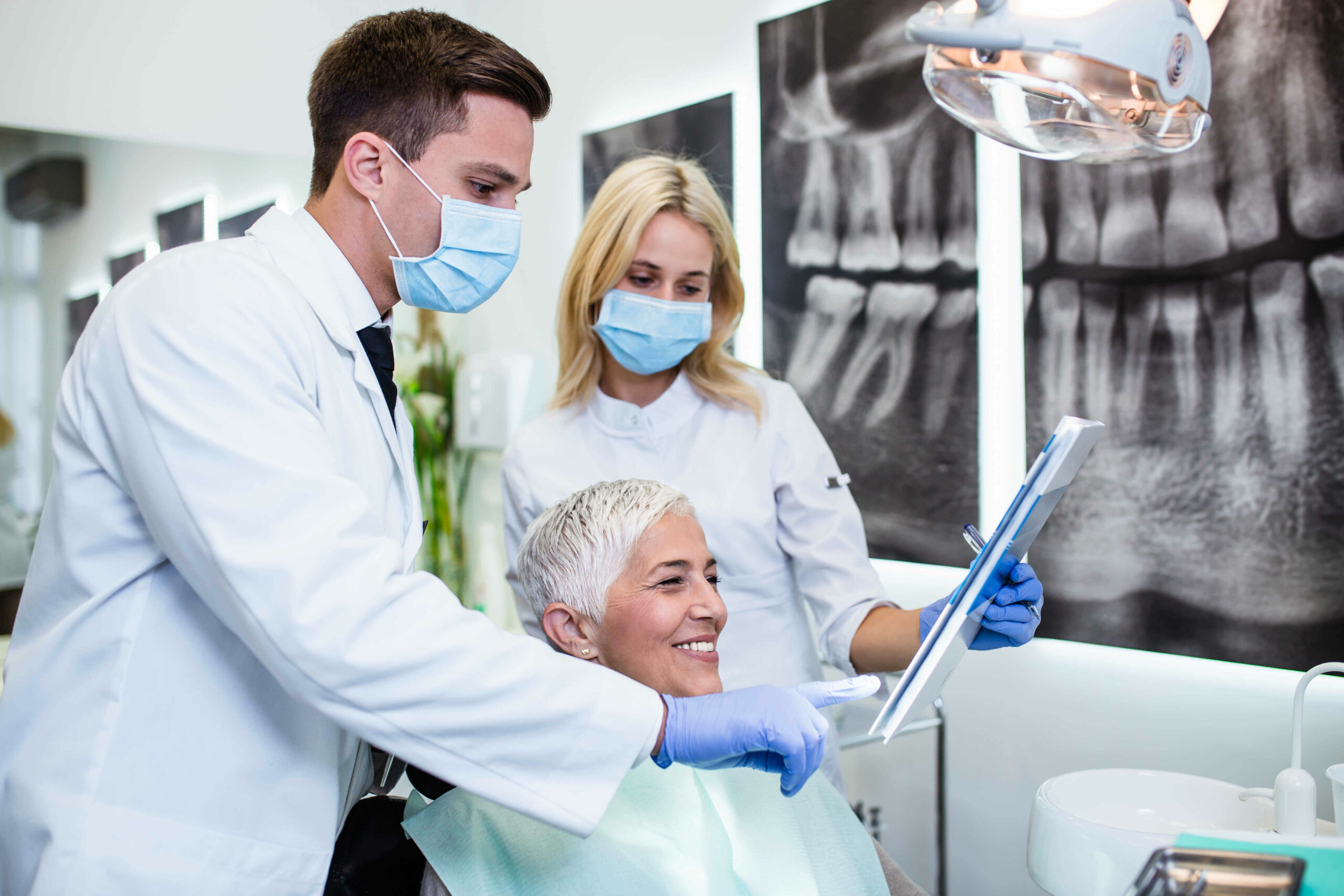 Dentist and patient in dental clinic in Chicago